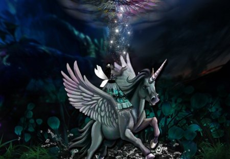 A Magical World - gems, love, pandora, unicorns, waters, fantasy, beauty