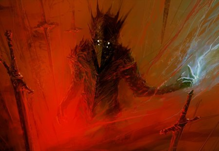 Demon - swords, berserk, painting, art, science, artwork, fiction, red, fantasy