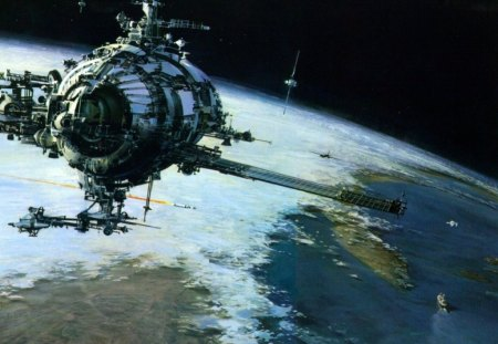 space stations in orbit - plane, clouds, boats, space stations, planet