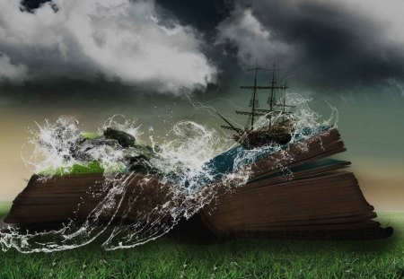 Fairytales - sails, clouds, book, ship, water