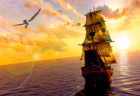 SUNSET SAILING - sunset, ship, a bird, sea, flying