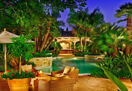 Romantic place for dinner - travel, flowers, evening, tropical, luxury, relax, nice, waters, holiday, green, place, rest, destination, palm trees, drink, pleasant, beautiful, emerald, romantic, exotic, umbrellas, cocktail, palms, dinner, greenery, summer, fountain, pool, sky, bar, resort, lovely, chair, tropics, nature, stream