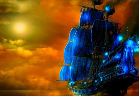 THE PIRATE SHIP - ship, art, clouds, pirate