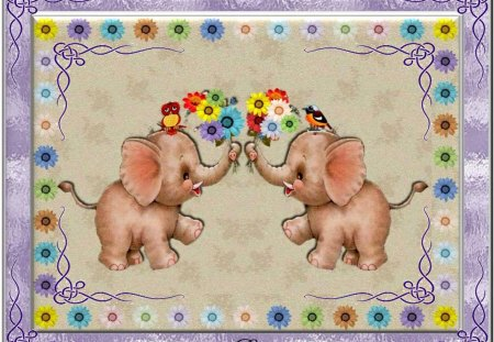 SENDING JUMBO WISHES FOR THE COMING NEW WEEK! - flowers, framed, birds, elephants