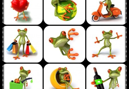 FROGS - frogs, abstract, collage, cute