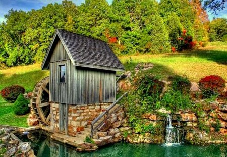 Mill on the riverbank - lake, beautiful, river, reflection, emerald, mill, water, nice, lakeshore, calm, mountain, stones, greenery, creek, green, summer, riverbank, sky, shore, lovely, pond, nature, peaceful, stream