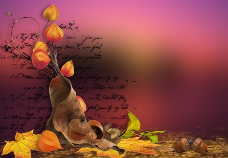 Fall Sunset - colors, sunset, leaves, poetry, letter, season, abstract, dry, acorns, collage, autumn, seed pods, fall, change, sky