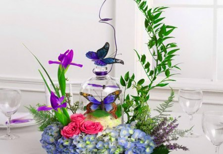 Natures beauties centerpiece - green, flowers, pink, blue, plant, purple, butterflies, glass, ivy