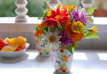Blooming - flowers, daisies, vase, yellow, table, fruit, purple, butterflies, red