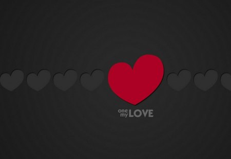 One my love - black, love, romantic, heart, wall, grafic