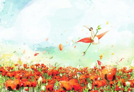 Poppies - cloud, blue, sky, summer, red, flower, poppy, fairy, art, green, fly