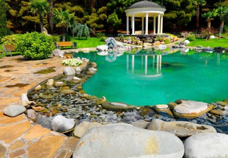 Gazebo in garden - lake, garden, beautiful, mirrored, river, reflection, emerald, blue, gazebo, bright, water, clear, relax, nice, lakeshore, bench, stones, greenery, green, summer, trees, rest, pool, shore, lovely, pond, park, nature