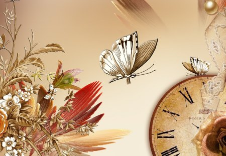 Just Natural - flowers, wings, time, fleur, fall, autumn, tan, butterfly, clock, lace, butterflies, grass, seeds, bisque, summer, papillon, ecru, light