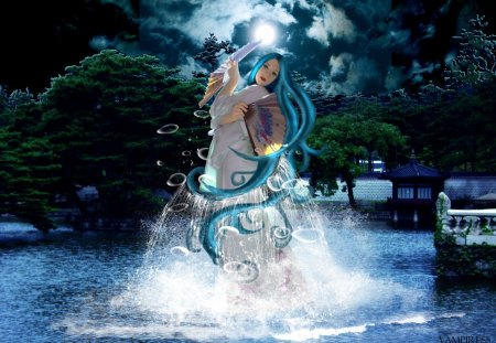 Lady of the lake - lake, fan, lady, clouds, moonlight, fantasy, night