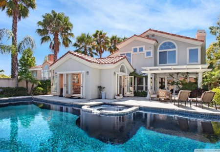 cool pool in a beautiful backyard pool backyard palms house - Cool Pools In Houses