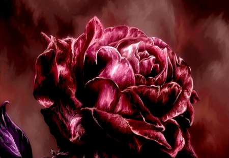 A ROSE - rose, petals, painting, red, art