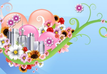 Urban Garden - flowers, spring, summer, skyrises, fleurs, floral, abstract, blue, hearts, heart, flower, sunflowers, buildings, sunshine, city, vines