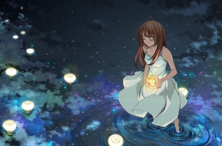 Starlight Mirror - girl, lake, candles, mirror image, night, stars