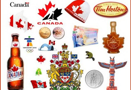 Little bits of Canada - tim hortons, beer, collage, canada, looney, tooney, totem, emblem, maple leaf, flag