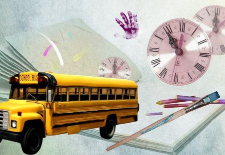 SKOOL DAZE - school, kindergarten, time, hand, learn, paint brush, crayons, friends, bus, yellow, funny, teach, days, clock, back to school, paints, teacher, fun, spelling, lessons, books, children, grade school, whimsical