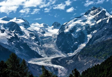 Mountain Glacier Flow - glacier, nature, mountain, ice