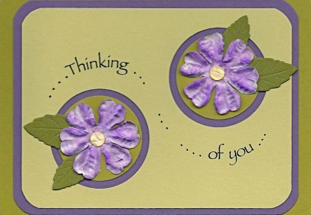 ~Green mess@ge~ - green, flowers, purple, message, texture, friendship, card
