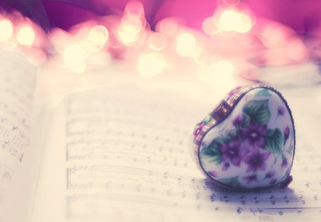 Heart of the music - flowers, simply, paper, music, fire, heart, notes