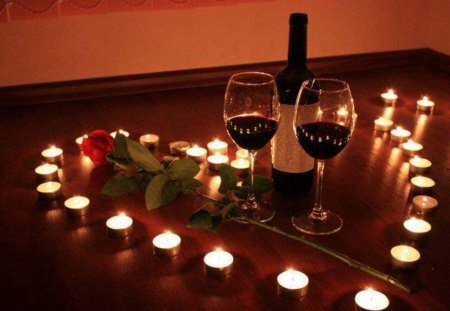 Our romantic evening my love - rose, candles, wine, feeling, heart, romantic evening, emotion, light, bottle, red rose, love, glasses, i love you, warmth, romance