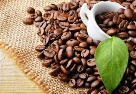 Coffee - petal, cup, coffee, drink, leave, sweet, aromatic, coffee beans