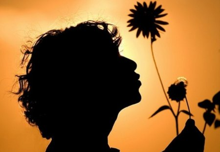 Good Morning - flower, morning, silhouette, collage, child