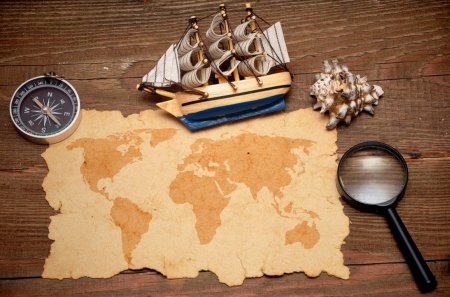 Treasure Map - map, compass, treasure, photo