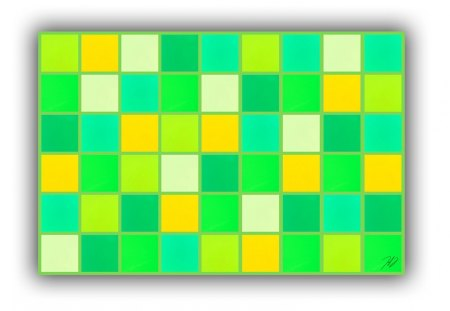 Blanket with shades of green  - green, squares, texture, white, shades, blanket, yellow