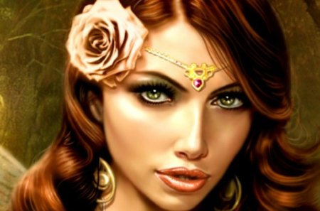 Gypsy Queen - art, painting, face, cg, lady