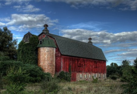 Old Red Barn - barn, country, old, red