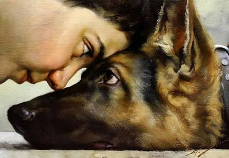 boy and his dog - dog, art, german shepherd, boy
