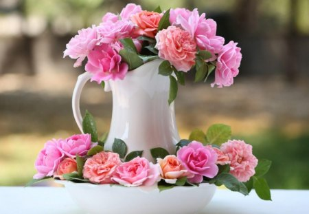 For anyone going through illness - white pitcher, flowers, roses, pink, coral