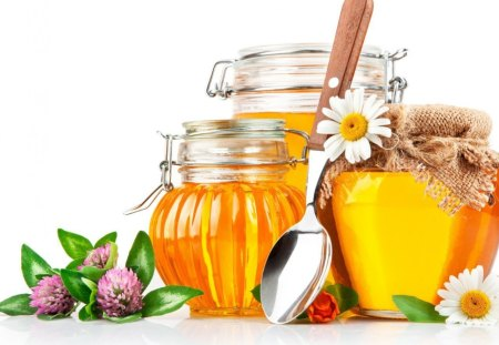 Honey - tasty, sweet, sweetness, jug, daisy, yummy, flowers, spoon, honey