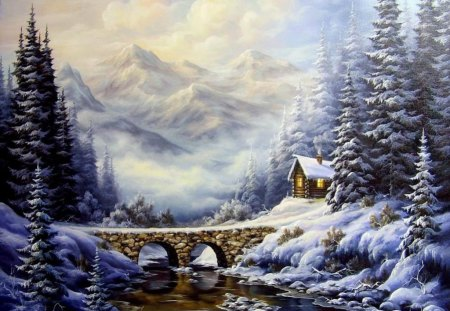 In winter - splendor, beautiful, trees, river, colors, landscape, snow, bridge, house, mountain, forest, nature, winter, loving