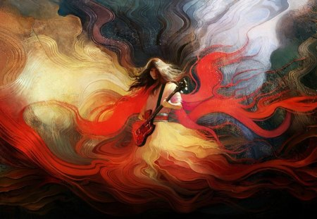 Magic music - splendor, beautiful, sound collages, colors, red, music, flames