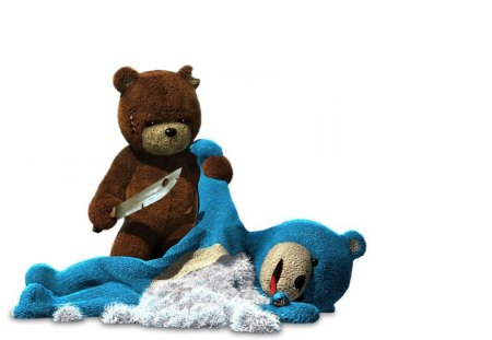 Bear Fight - stabbing, white, bears, background, knives, toys, teddy