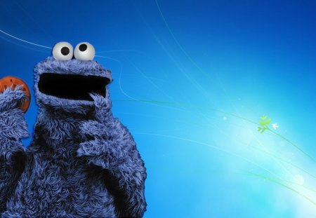 Blue monster - wallpaper, fun, blue, sesamestreet, cookie monster