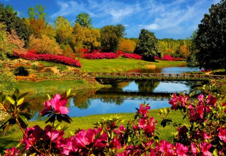 Beautiful Garden Lake - Lakes & Nature Background Wallpapers On