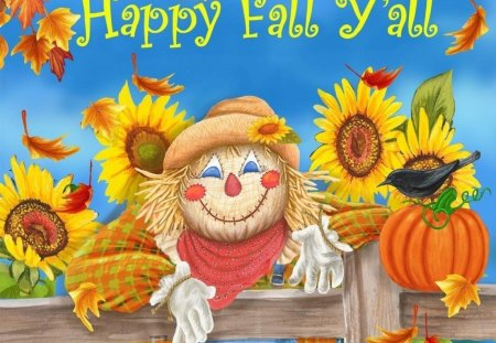 HAPPY FALL Y ALL - colorful, fence, sunflowers, scarecrow, happy, fall