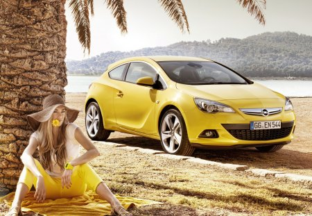 Attention to details♥ - opel, positive, coupe, tree, summer, flower, hat, girl, astra, gtc, yellow