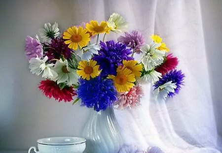 Colors for Katica - flowers, purple, cup, white, colors, red, vase, yellow