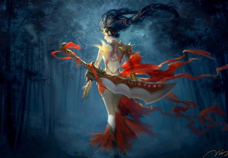 WARRIOR GIRL - sword, wood, red, dark, night, phoenix, girl, art, back, bird tattoo, warrior, belt, weapon, bamboo