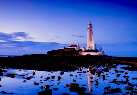 LIGHTHOUSE - stones, lighthouse, beach, lights, decoration, ocean