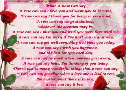 ♥    ~~~ღ  What a ROSE can say  ღ~~~    ♥ - rose, roses, poem, red rose, abstract, love, collages