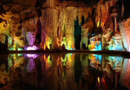 Colorful reflections - cave, water, colorful, mirrored, rocks, colors, reflections