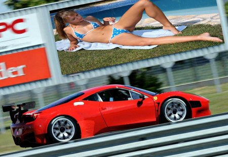 Road Distraction - ferrari, road, sign, bikini